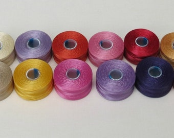 12 Pinks, Purples, Reds S-Lon Thread Colors - Size AA