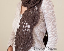 Lace Scarf Crochet Pattern ~ Light Scarf Crochet Pattern ~ Spring Scarf Crochet Pattern ~ Unique Scarf Crochet Pattern