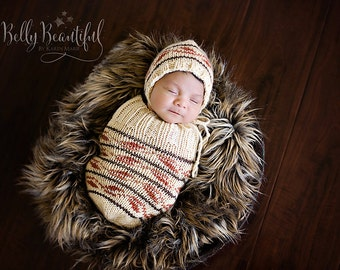 Knit Baby Cocoon Pattern - Knit Baby Sleep Sack Pattern - Knit Baby Sleep Cocoon Pattern -  Knit Baby Cocoon and Hat Set Pattern