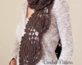 Crochet Pattern - Lace Scarf - Woman's lacy, feminine Scarf with unique shape - Shell Scarf Crochet Pattern - Instant Download