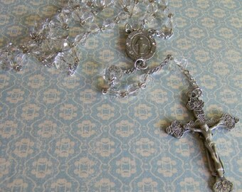 Clear Crystal Rosary with Matching Crystal Crucifix and Miraculous Crystal Center