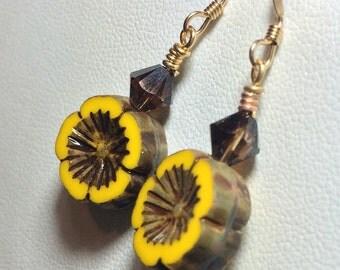 Handmade Czech glass jewelry yellow pansy flower earrings