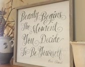 Beauty begins the moment you decide to be yourself - Coco Chanel - framed sign