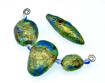 Blue-Green Free-formed Polymer Clay Beads Collection