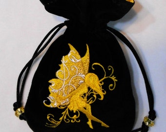 SUNSHINE FAIRY - Velveteen Drawstring Pouch with Machine Embroidery - Dice Bag, Tarot, Wristlet