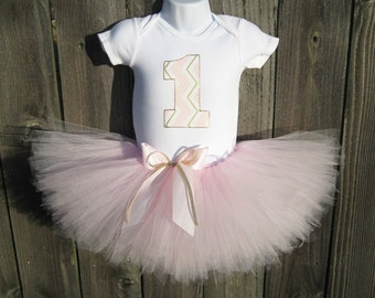 Pink and Gold First Birthday Tutu Outfit and Headband | Light Pink and Gold Chevron Number or Initial | Birthday Photo Prop, Party Dress