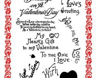 "Valentine's Day Greetings - With Love // Clear stamps pack (4""x7"") FLONZ"