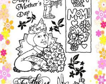 "Mothers Day: Mom with Flowers // Clear stamps pack (4""x7"") FLONZ"