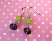 Crystal dangle earring - purple, lime green, earrings
