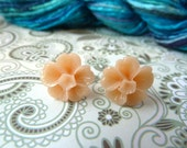 Peach flower earring stud - cabochon, rose, earrings, salmon, pink