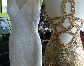 Art deco sequined ivory or gold beaded flapper wedding dress backless dress flapper 1920s 1930s dress SALE