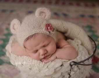 KNITTING PATTERN ONLY! Baby Bear Angora Bonnet- Newborn Size