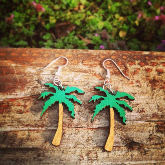 Wood Hand-Painted Palm Tree Earrings