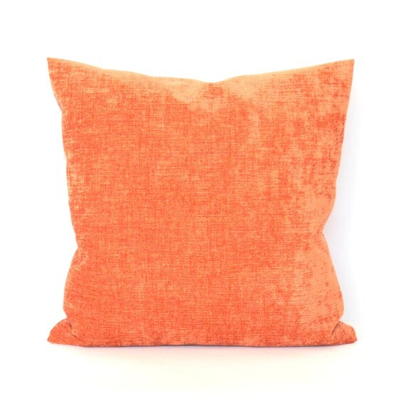 Rust Orange Throw Pillow Cover Chenille by couchdwellers on Etsy