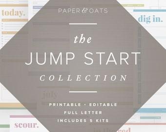The Jump Start Collection – Editable, Home Management Binder, Home Starter Kit, Organization Planner, 5 Sets / Household PDF Printables