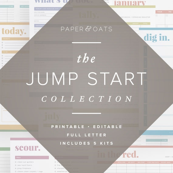 The Jump Start Collection Editable Home Management Binder