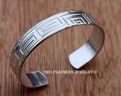 Geometric Cuff Bracelet - Greek Pattern - Metal Cuff - Patterned Cuff - Silver Cuff - Aluminum Cuff - Non Tarnish - Two Feathers Jewelry