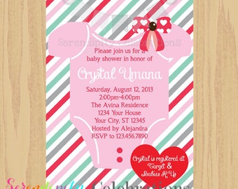 12 Printed Invitations By Serendipity Celebrations -Valentine Baby -Baby Shower -Printing Service