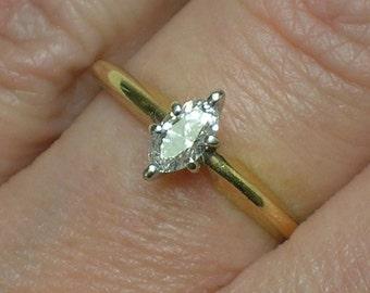Vintage Engagement Ring: Marquise Diamond Solitaire, Retro Classic