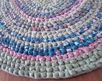 Oval Area Rag Rug Crocheted Rug Blue Floral, Pink and Grey Green Rug