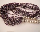 Purple Lavender Silver Vintage Glass bead Necklace Multi Strand Gorgeous Southwestern Indian 1940s Collectible Denim Cowboy Attire Glamorous