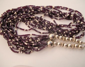 Purple Lavender Silver Vintage Glass bead Necklace Multi Strand Gorgeous Southwestern Indian 1940s Collectible Denim Cowboy Attire Glamorous