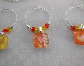 Orange Wine Charms - Tangerine and Lemon Wine Charms - Orange and Yellow - Glass Wine Charms Made by Pillowscape Designs - Wine Tags