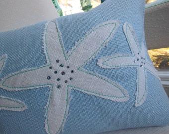 Starfish Pillow - Jeweled Designer Lumbar Pillow - Iced Blue Starfish Decorative Pillow - Seaside Seashell Collection - 12 x 16 inch