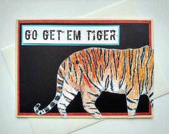 Go Get 'Em Tiger - Running Encouragement Good Luck Greeting Card for Runners, Walkers, Triathletes - Marathon, 13.1, Triathlon