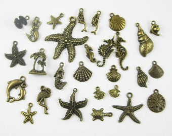 SALE - BIG Beach Charm Collection in Bronze Tone - C2106