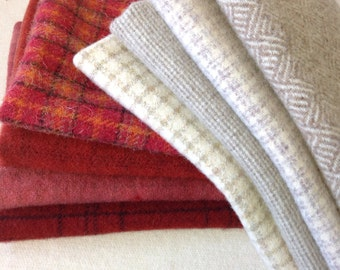 Wool for Rug Hooking and Applique, 8) Fat Eighths, Red and White Collection, J883