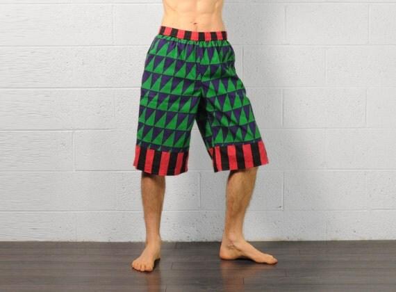 men women shorts vintage 90s uni raver shorts harlequin