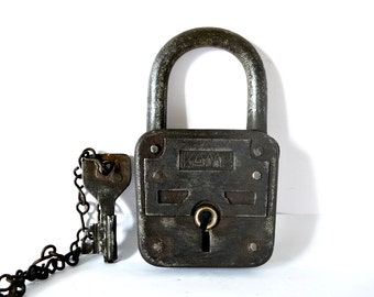 French vintage cast iron and brass padlock brass -functional with key and chain