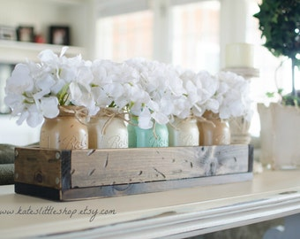 Mothers Day Rustic Planter Box with Painted Mason Jars. Centerpiece. Tropical Green. Cream. Tan. Dinning Table. Painted Mason Jars. Rustic.
