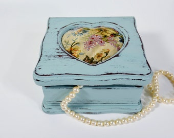 Painted Jewelry box, jewelry holder with tapestry fabric top, light blue, distressed wood