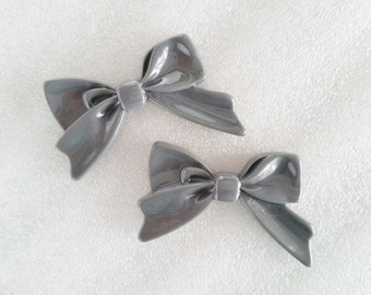 4pcs - Gray Sweetheart Bow Decoden Cabochon (45x30mm) BM10008