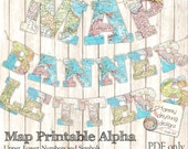 Map Banner Garland Printable, World Map Alphabet, Letters for travel decor, custom party bunting, graduation banner, weddings, map theme