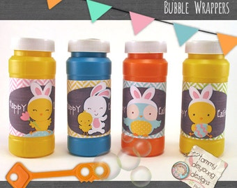Easter basket gift, Easter Bubble labels, Easter Party Favors printable tags for kids, Easter bubble wrappers with owl, bunny and chicks