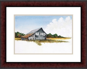 Watercolor painting, Mail Pouch Barn, Midwest, Old barn