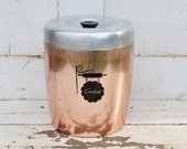 Vintage Aluminum Cookie Canister Jar Copper Silver Mid Century Kitchenware Treats Snacks Storage Chippy Shabby 1950's