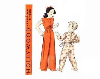 1940s Hollywood Vintage Sewing Pattern 625 Size 6 years Childs Sleeping Suit Jumpsuit Pajamas PJS Footie Pajamas Drop Seat Hollywood 625