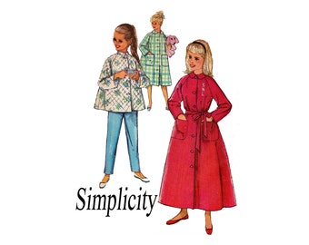 Girls Lounging Pajamas and Robe in 2 Lengths Girls Size 8 Simple to Make 1960s Vintage Childs Sewing Pattern UNCUT Simplicity 2755