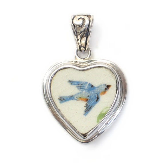 Broken China Jewelry Antique Bluebird Sterling Heart Pendant