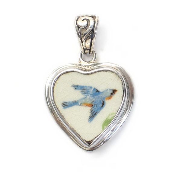 Broken China Jewelry Antique Bluebird Sterling Heart Pendant