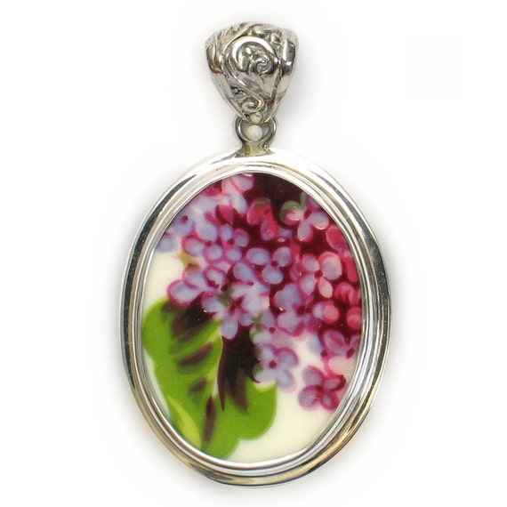 Broken China Jewelry Purple Lilac Flowers Sterling Oval Pendant