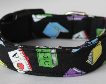 Books Dog Collar Size XS, S, M, L