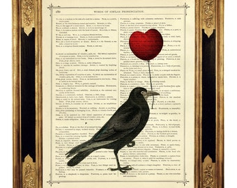 Valentine's Day Raven Crow holding a red Heart Balloon - Vintage Victorian Book Page Art Print Steampunk
