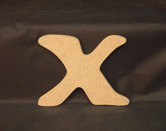 """Hand Cut Alphabets, Pack of 1 """"X"""", 3.5"""" Tall, Blank, Ready for your art work"""