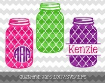 Quatrefoil Mason Jar Monogram Frames.DXF/.SVG/.EPS Files for use with your Silhouette Studio Software