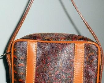 ESCADA Vintage Paisley Brown Beige Petite Baguette Clutch HandBag Purse Leather